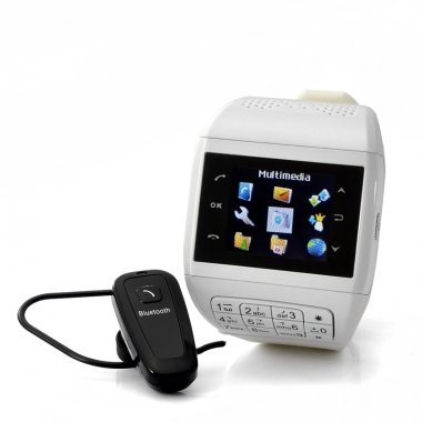 Наручные часы-мобильный телефон, 2 сим-карты, сенсорный экран, клавиатура, наушник Bluetooth, карта памяти 4Гб