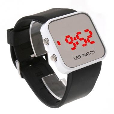 Спортивные наручные LED часы, чёрный силиконовый  браслет, зеркальный дисплей, коллекция Sport Mirror